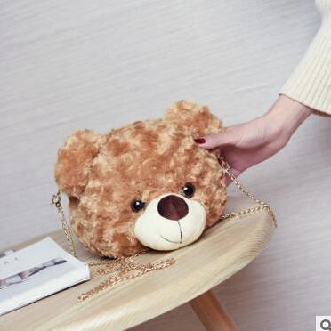 Cute Bear Head Chain Crossbody Bag