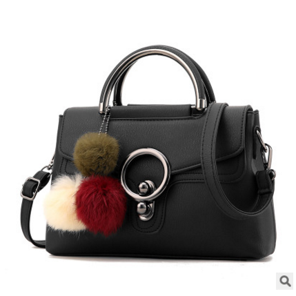 Ladylike Plush Ball Pendant Crossbody Bag