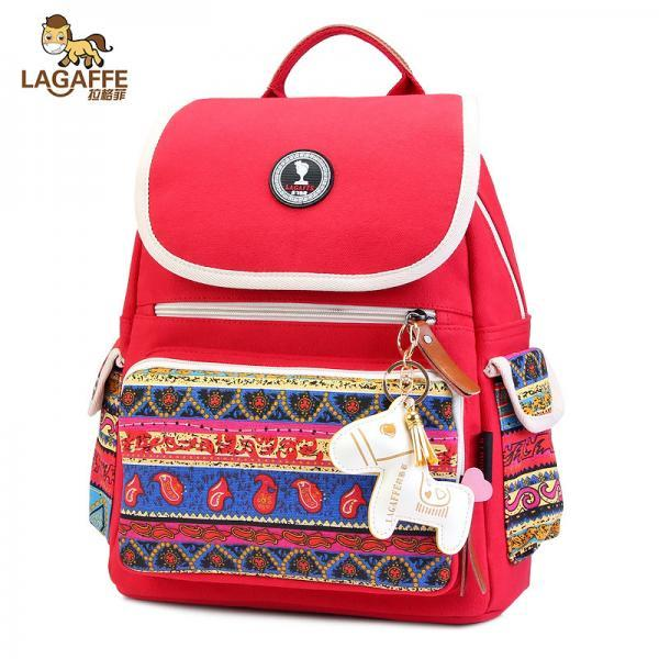 Ethnic Color Block Canvas Travel Backpack