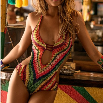 Rope Print Strappy One Piece Swimwear