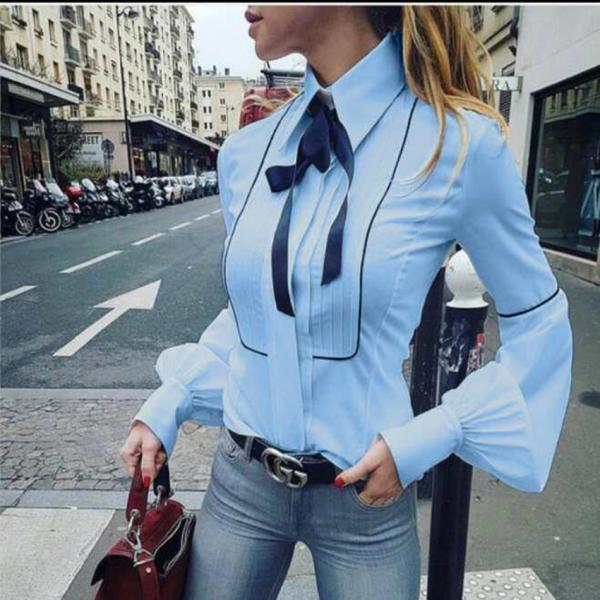 Stand Collar Bowknot Lantern Sleeves Slim Blouse