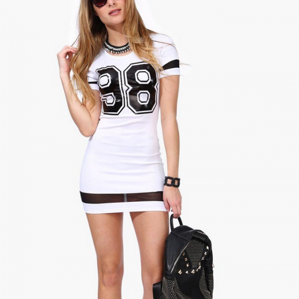 Sexy Pure Color Scoop Short Sleeves Mini Dress