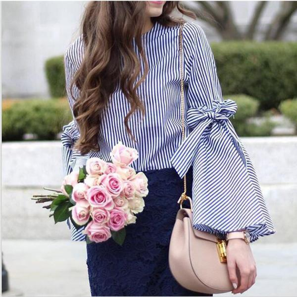 Stripes Crew Neck Bow Knot Accent Long Flared Sleeves Blouse