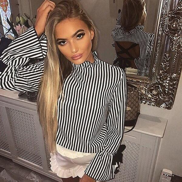 Black White Stripes Ruffled Neck Ribbon Accent Long Flared Sleeves Blouse with Criss-Cross Open Back