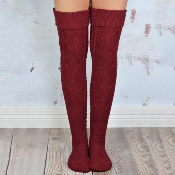 Sell Lots Of Pure Color Edge Knee-high Socks