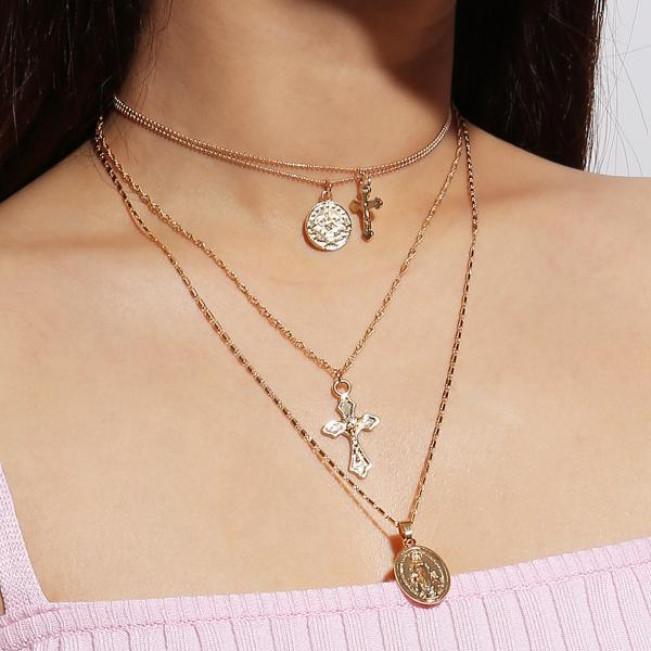 Fashion Multi-layered Lady's Cross Necklace