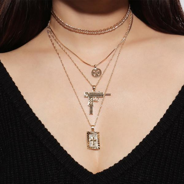 Cross War Multilayer Collarbone Necklace