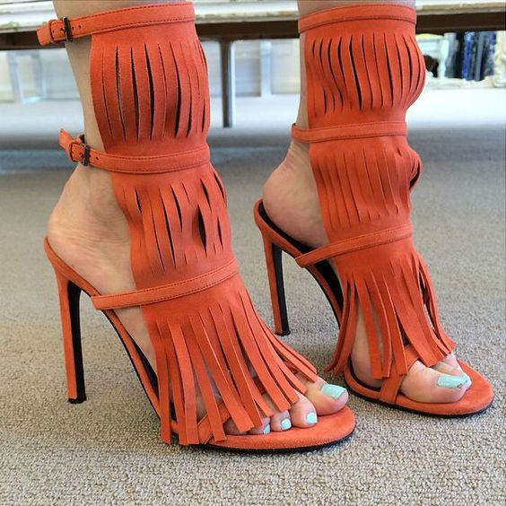Tassels Candy Color Suede Open-toe Ankle Strap Stiletto High Heel Sandals