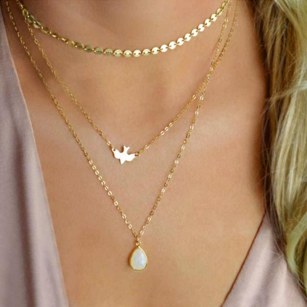 Multilayer Small Round Piece Bright Piece Peace Dove Necklace