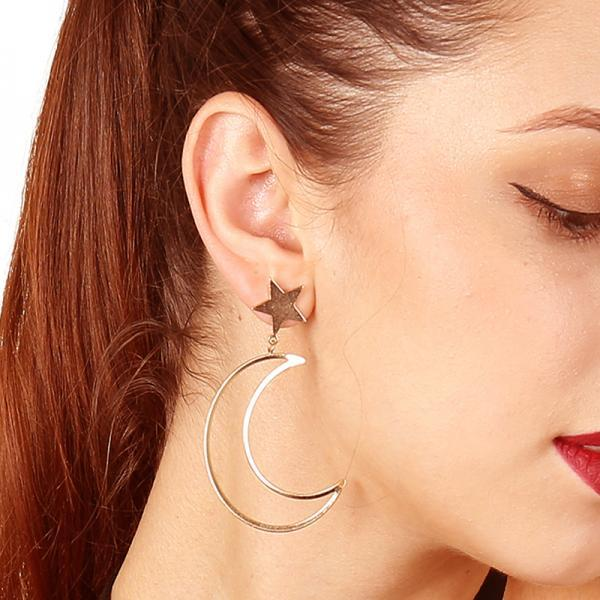 Bronze Cast Geometric Star Moon Drop Earrings