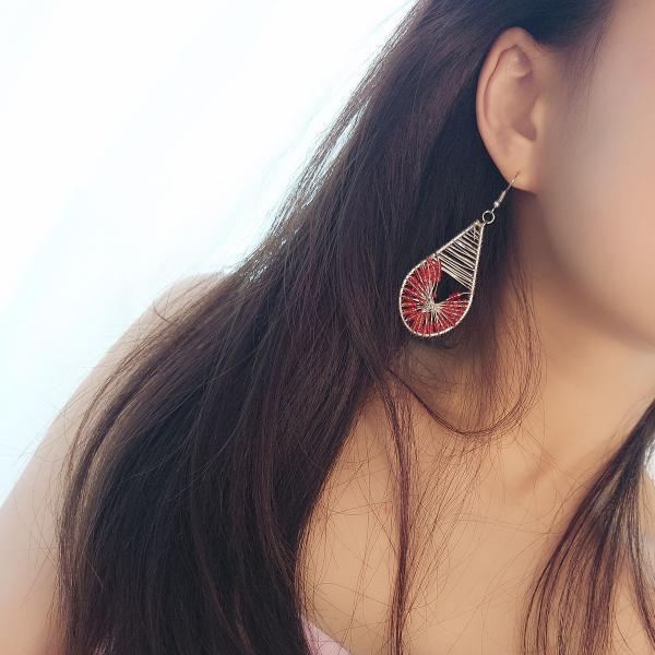 Drip Shaped Chinese Red Rice Pearl Earrings