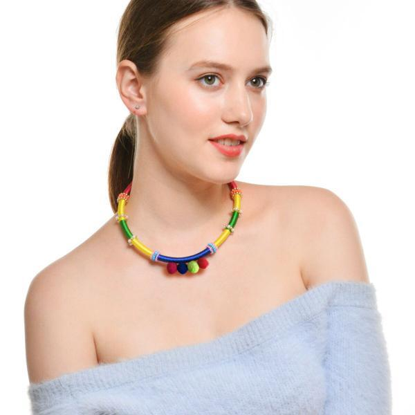 National Wind Rainbow Leather Pipe Manual Necklace