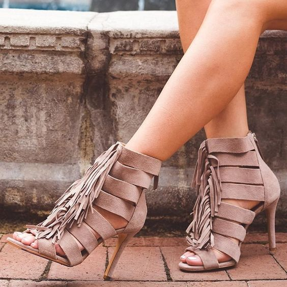 Tassels Straps Peep Toe Solid Color Stiletto High High Sandals