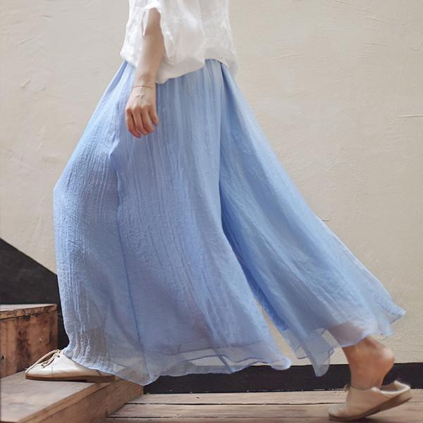 Retro Solid Color Loose Elastic Wide-legs Long Pants
