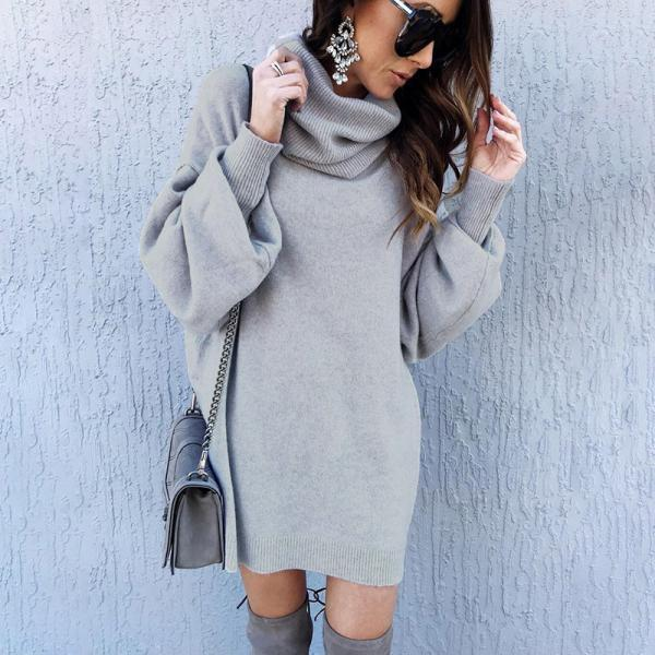 Turtleneck Long Lantern Sleeves Loose Long Women Oversized Pullover Sweater