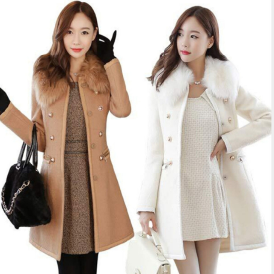 Faux Fur Collar Double Breast Women Slim Oversized Long Woolen Coat