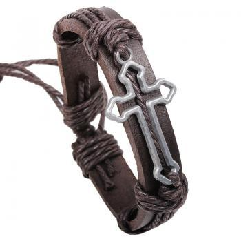 Silver Plated Alloy Cross Shape Brown Leather Bracelet