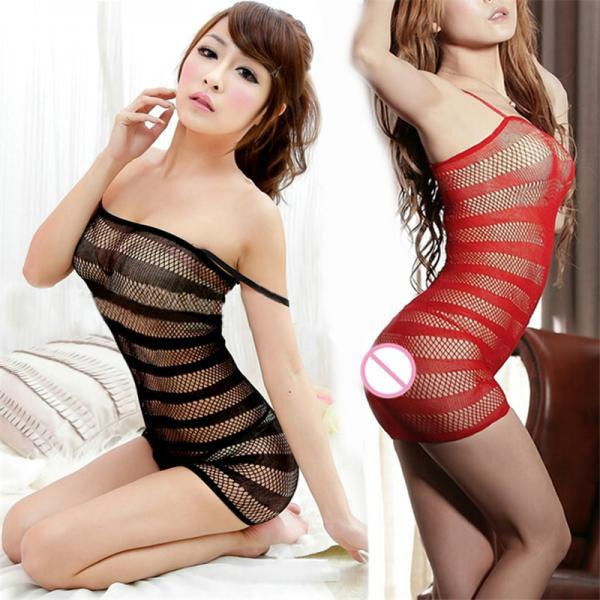 Lady Sexy Lingerie Fishnet Body Stocking Sleepwear Underwear Babydoll Mini Dress