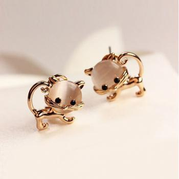 Pair of Sweet Faux Opal Embellished Kitten Earrings For Women