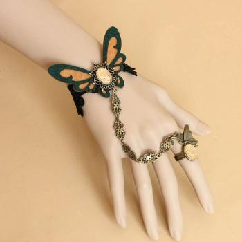 Butterfly Embellished Lace Strand Bracelet With Ring For Women
