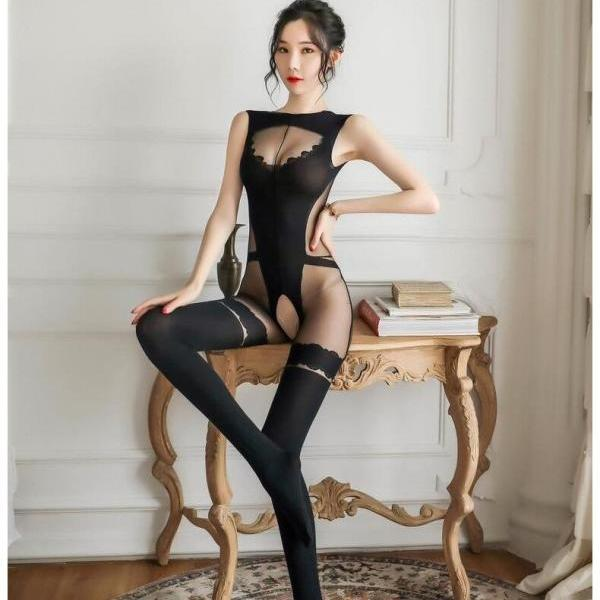 Sexy Lingerie One Piece Women Deep V Pantyhose Hot Erotic Sexy Tights Hollow Underwear Halter Open Bra Transparent Lingerie
