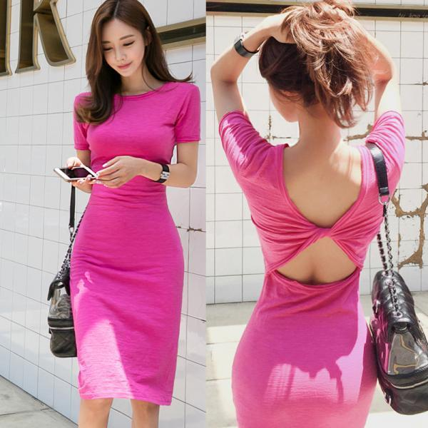 Pink Open Back Short Sleeve Midi Bodycon Dress