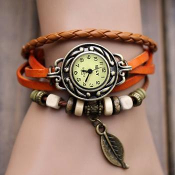 Quartz Weave Wrap Synthetic Leather Bracelet Women's Leaf Wrist Watch