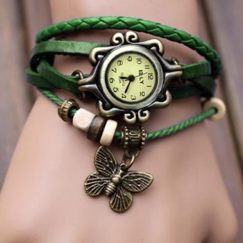 Women's Quartz Butterfly Weave Wrap Synthetic Leather Bracelet Wrist Watch