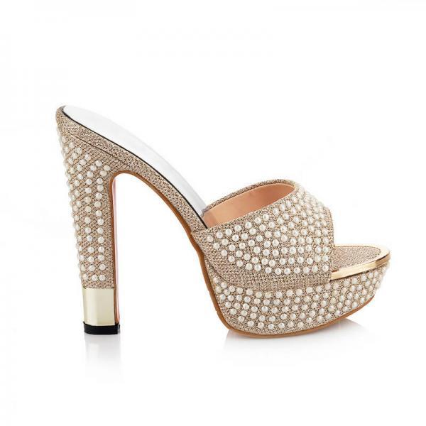 Pearl Platform Peep Toe High Heel Sandals