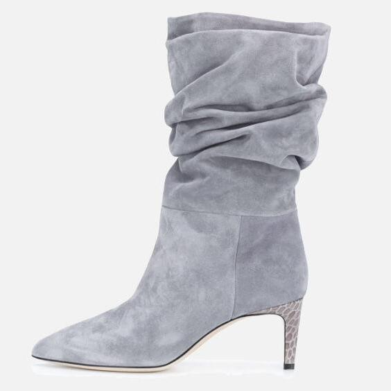 Gray PU Point Toe Fold High Heel Calf Boots