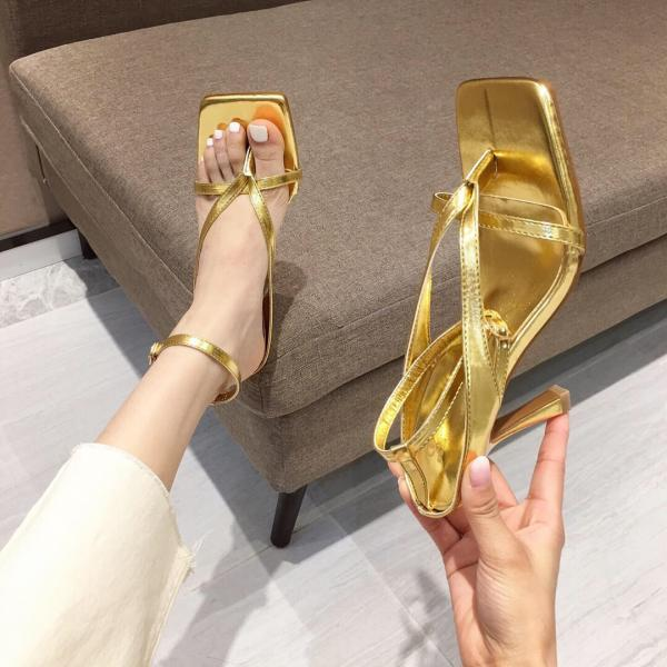 Champagne Summer PU Square Toe Plain Thong High Heel Sandals