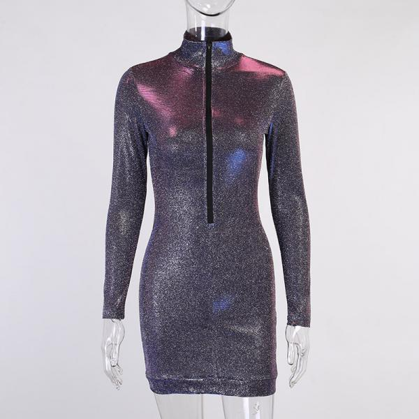 Sexy Long Sleeve Star Chart Party Half Open Collar Zipper Dress