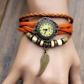 Weave Wrap Synthetic Leather Wing Bracelet Women's Wrist Watch