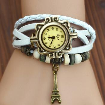 Women Vintage Iron Tower Pattern Weave Wrap Quartz Leather Wrist Watch Bracelet