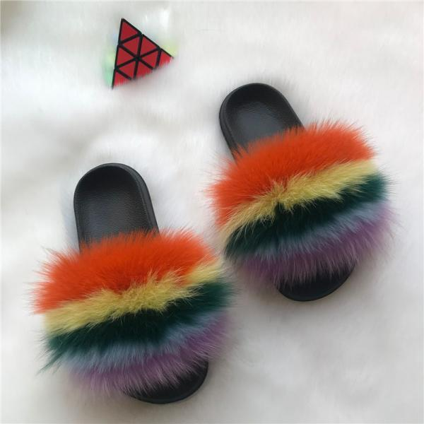 Color Matching Large Fur Real Natural Fox Fur Slides Colorful Fluffy Fur Slides Sandals Slippers Fashion Women Shoes-7