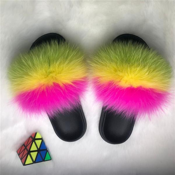 Color Matching Large Fur Real Natural Fox Fur Slides Colorful Fluffy Fur Slides Sandals Slippers Fashion Women Shoes-10