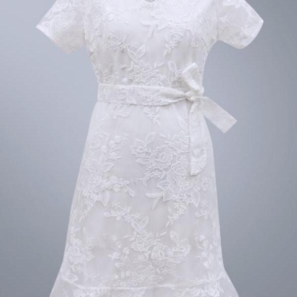 Free Shipping White V Neck Lace Short Dress