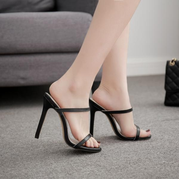 Free Shipping New style women's sandals high heel fashion sexy thin belt sandals-Black