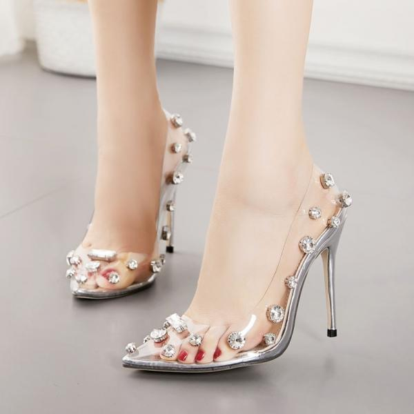 Free Shipping New sharp head transparent rivet thin heel high heel large water drill single shoe