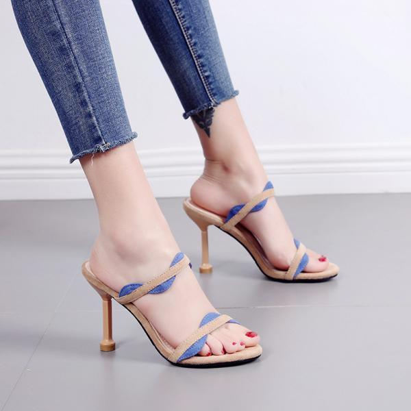 Color matching sandals women's Korean thin heel high heel open toe sandals-Camel color