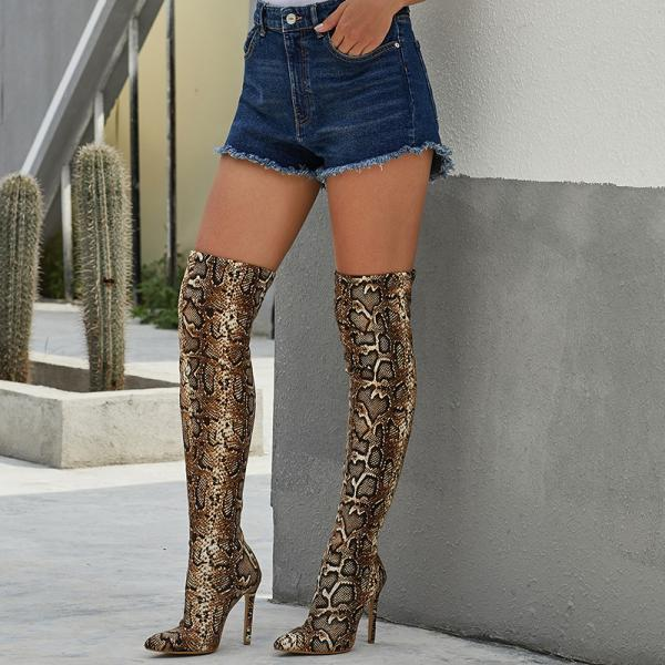 Leopard print knee long tube pointed high heel women's Boots