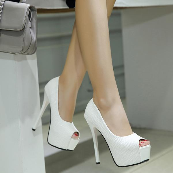 Fish mouth sandals thin high heeled platform women's high heeled shoes-White