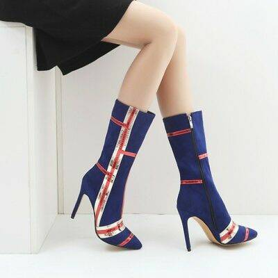 Color matching fashion suede thin high heel medium high boots-Blue