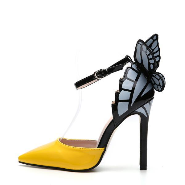 Pointed hollow butterfly sandals thin heel super high heel women's shoes-Yellow