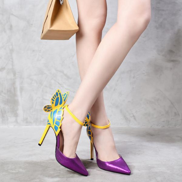 Pointed hollow butterfly sandals thin heel super high heel women's shoes-Purple