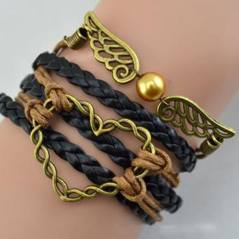 Vintage Multi-layer Handmade Braided Love heart Wings bracelet Hollow Out Chain Bangle Gift