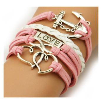 Anchor Double Hearts Love Charm Silver Color Pink White Wax Cords Leather Braid Bracelet Rope Leather Bracelet