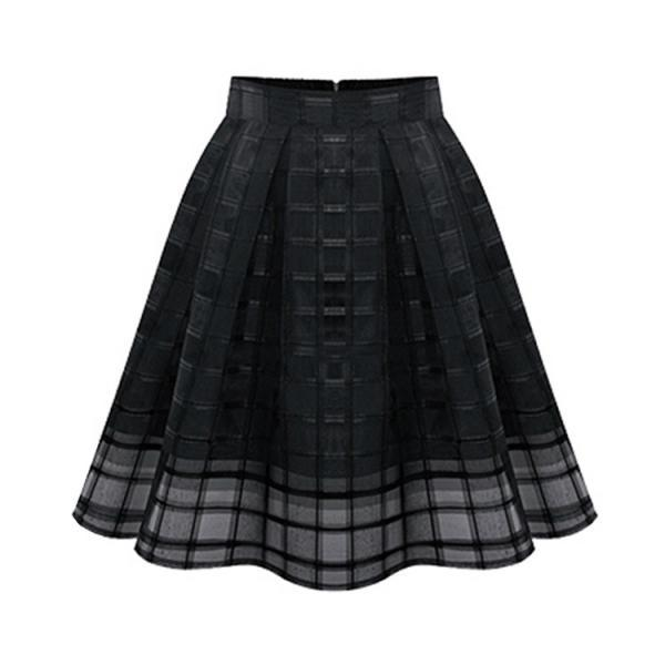 Fashion Elastic High Waist Solid Color Zipper Organze Plus Size Skirt