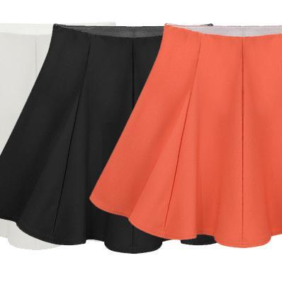 New Fashion Short Skirts OL Ladies High Waist Solid Color Umbrella Skirt