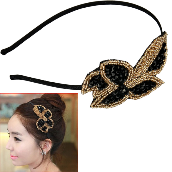 New Flower Black/ Gold Bead Spangle Head Band Hair Wear 2 Colors